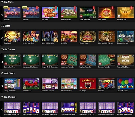 selection of games caino luck