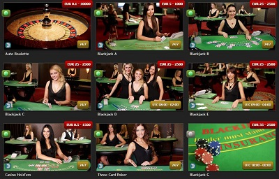 live casino games at casinoluck