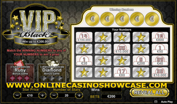 black VIP scratch card
